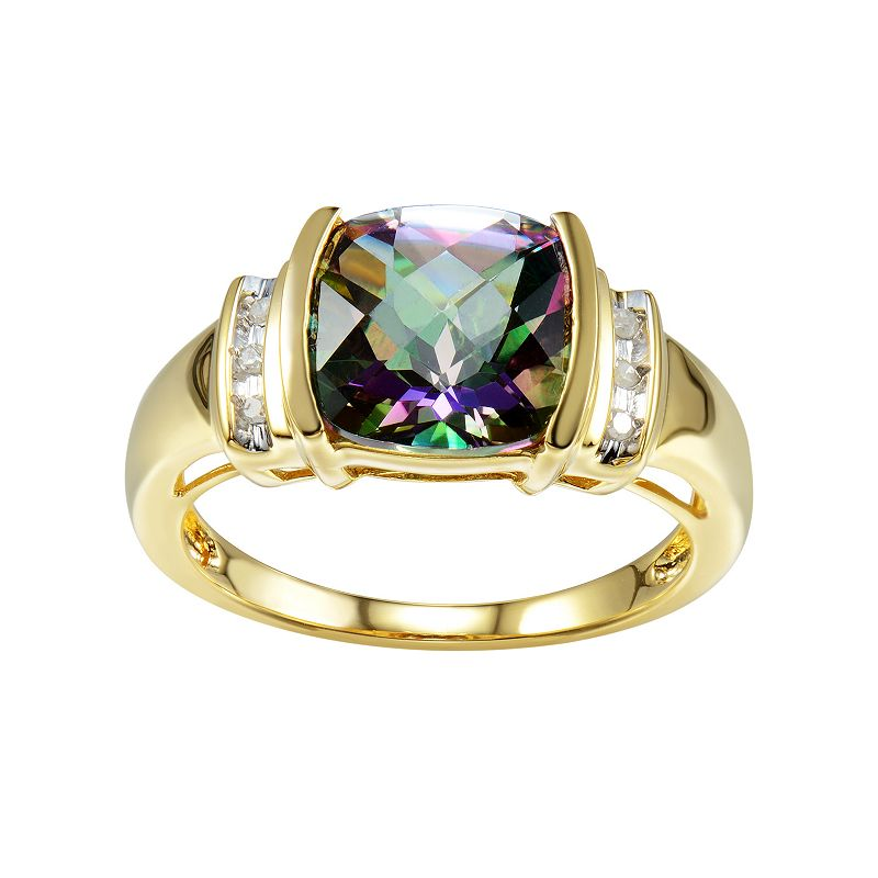 Lab-Created Mystic Fire Topaz & Diamond Accent 14k Gold-Plated Silver Ring