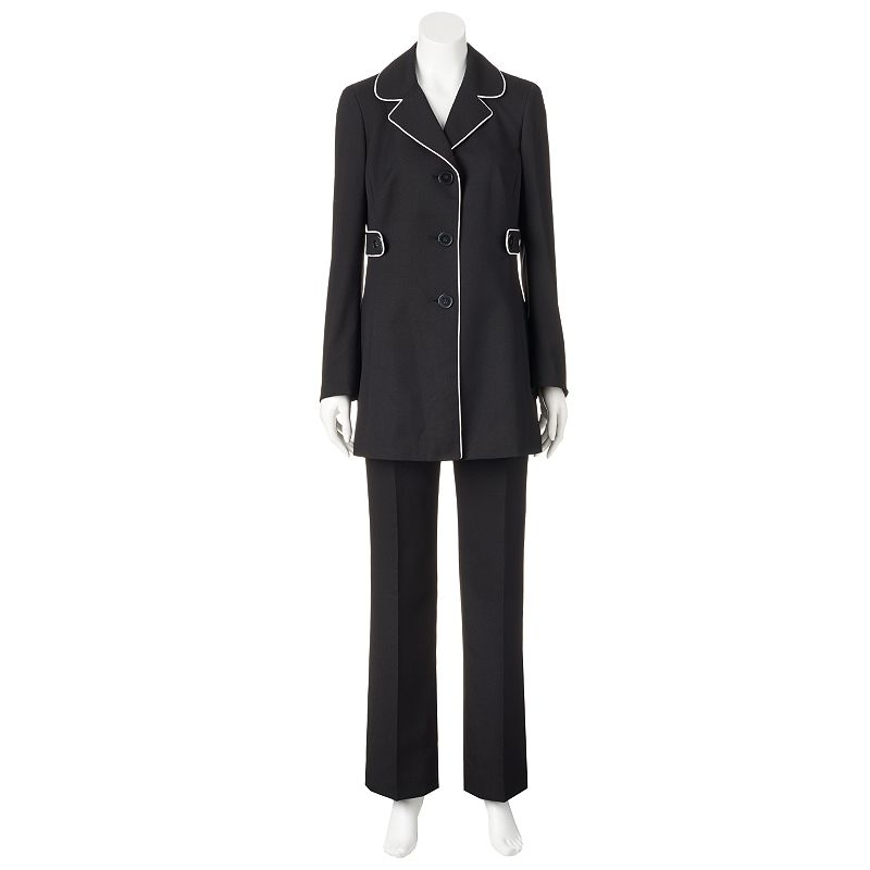 Women's Gloria Vanderbilt Piped Crepe Suit Jacket & Pants Set