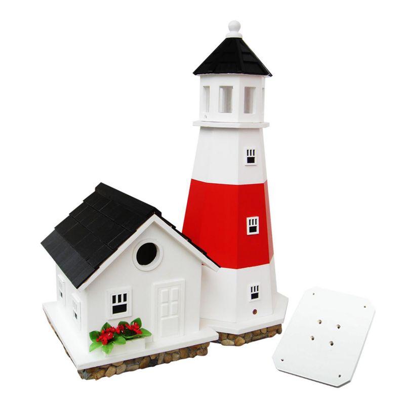 Home Bazaar Indoor / Outdoor Montauk Point Lighthouse Bird House, Red White