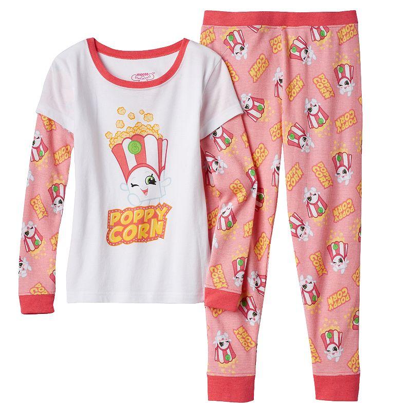Girls 4-10 Shopkins Poppy Corn Mock-Layered Thermal Tee & Pants Pajama Set