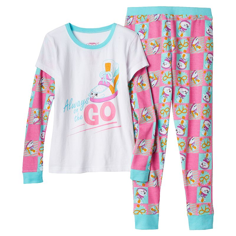 Girls 4-10 Shopkins Sneaky Wedge Thermal Mock-Layered Pajama Set