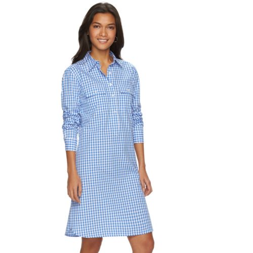 Women's Chaps Gingham Poplin Shirtdress