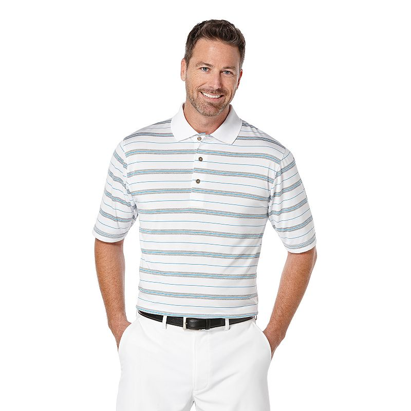 Big & Tall Grand Slam Striped 3-Color Airflow Golf Polo
