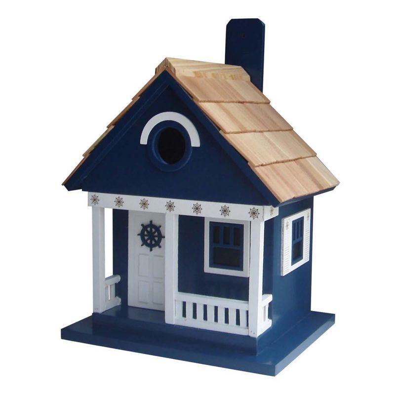 Home Bazaar Indoor / Outdoor Ships Wheel Cottage Bird House, Navy