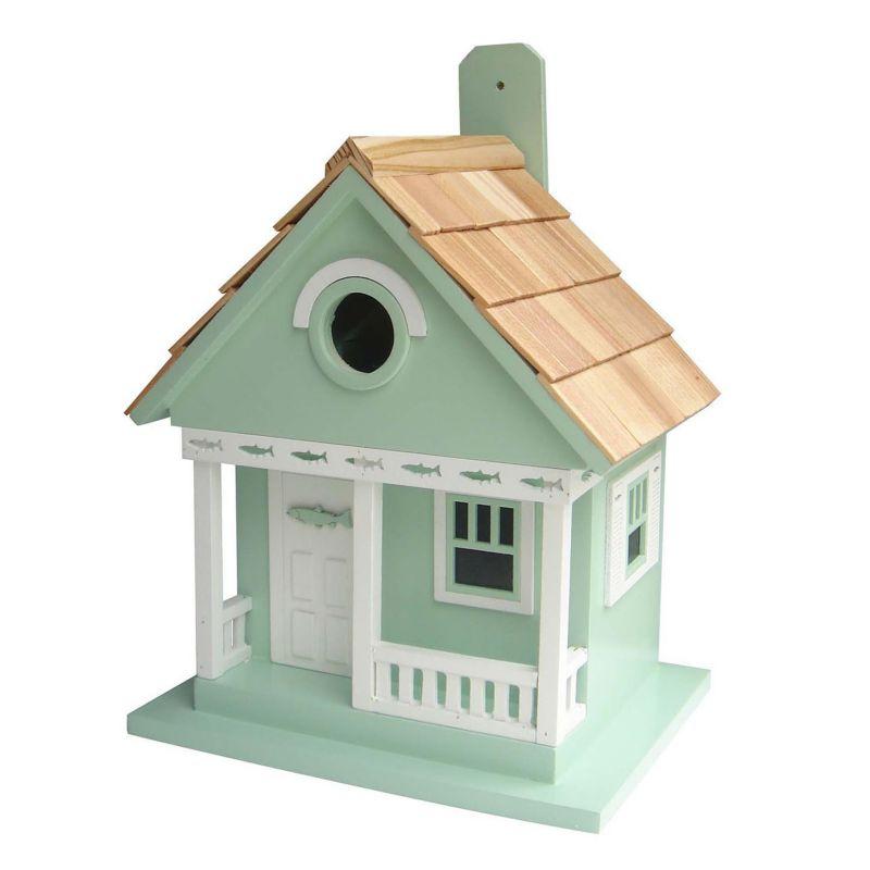 Home Bazaar Indoor / Outdoor Lake Trout Cottage Bird House, Turquoise/Blue (Turq/Aqua)