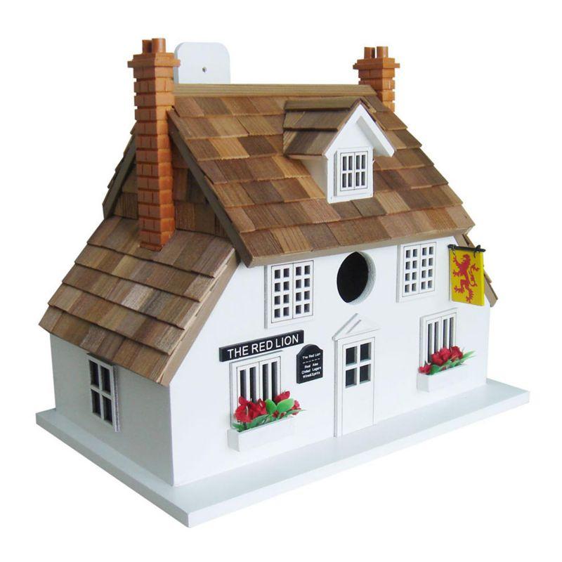 Home Bazaar Indoor / Outdoor Red Lion Pub House Bird House, White