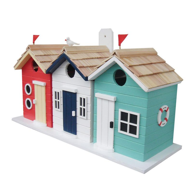 Home Bazaar Indoor / Outdoor Brighton Beach Huts Bird House, Red White Blue