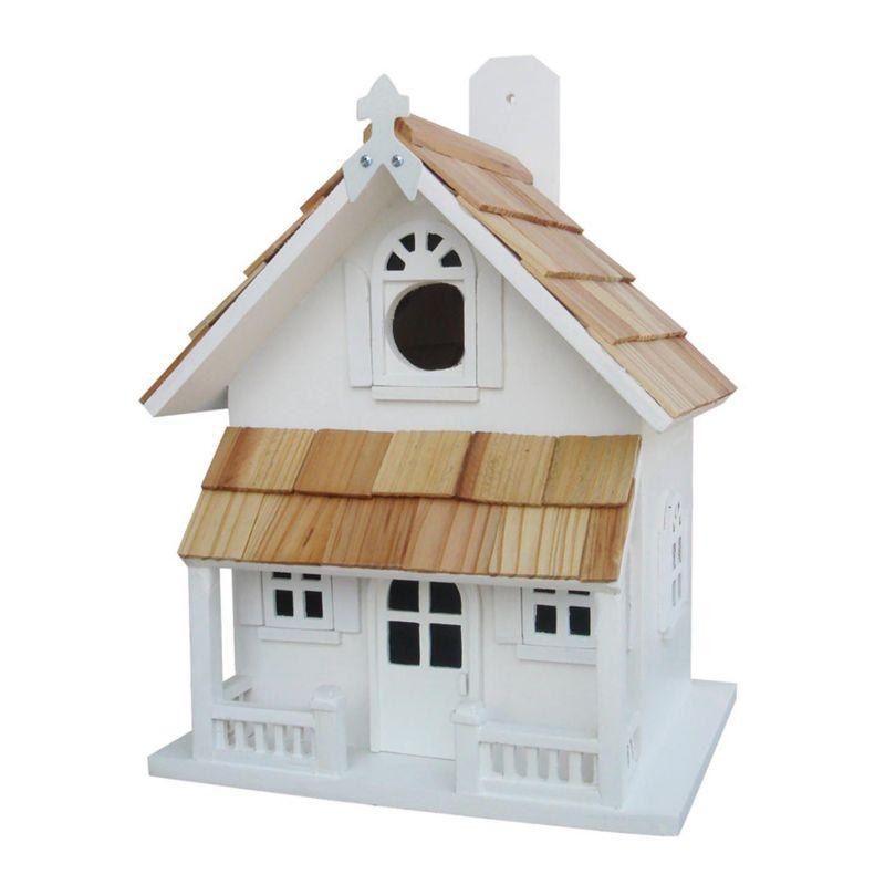 Home Bazaar Indoor / Outdoor Victorian Cottage Bird House, White