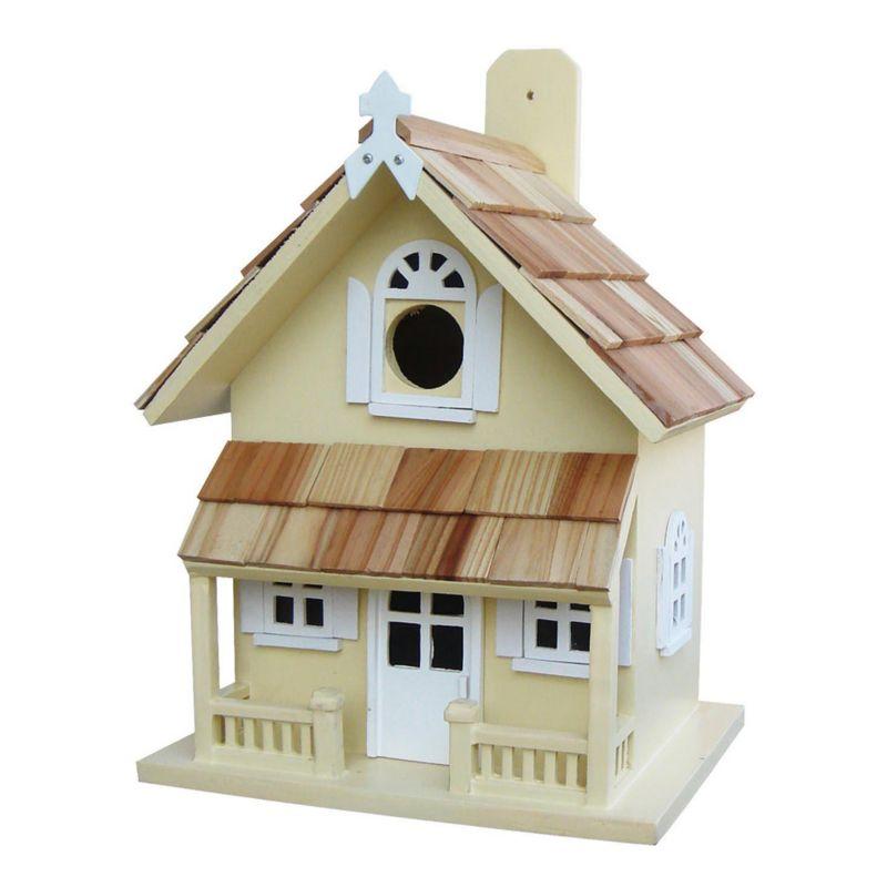 Home Bazaar Indoor / Outdoor Victorian Cottage Bird House, Yellow