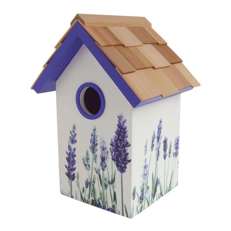 Home Bazaar Indoor / Outdoor Floral Bird House, Purple
