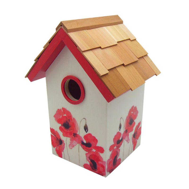 Home Bazaar Indoor / Outdoor Floral Bird House (Poppy)