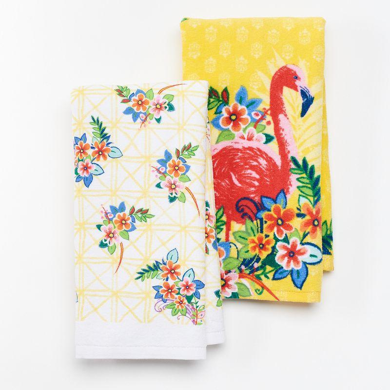 Celebrate Summer Together Flamingo Floral 2-pc. Kitchen Towel Set