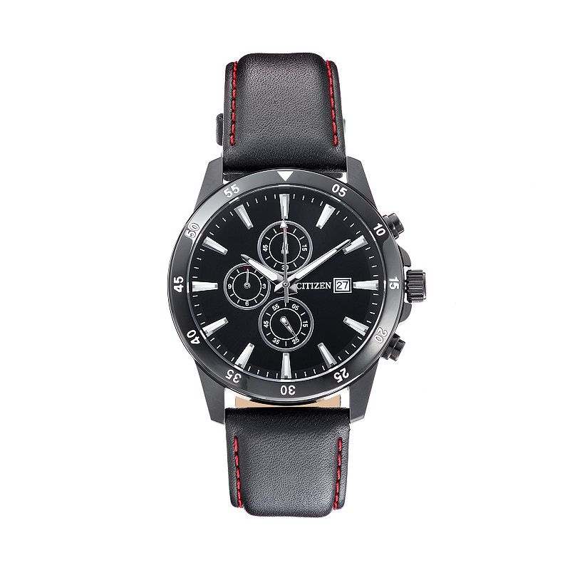 Citizen Men's Leather Chronograph Watch - AN3575-03E