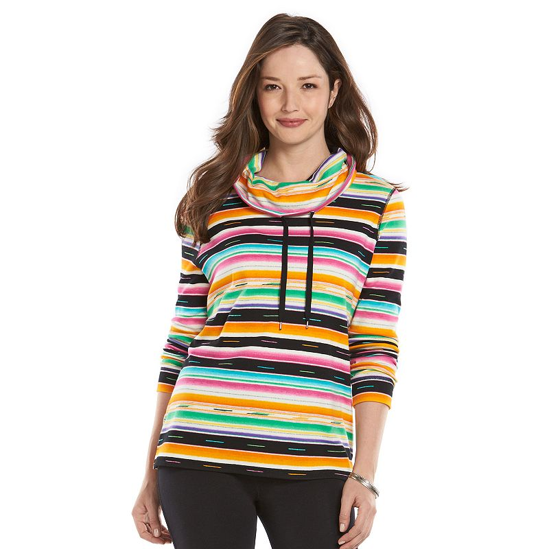 Women's Chaps Striped Cowlneck Top