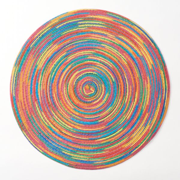 Celebrate Summer Together Rainbow Stripes Round Placemat