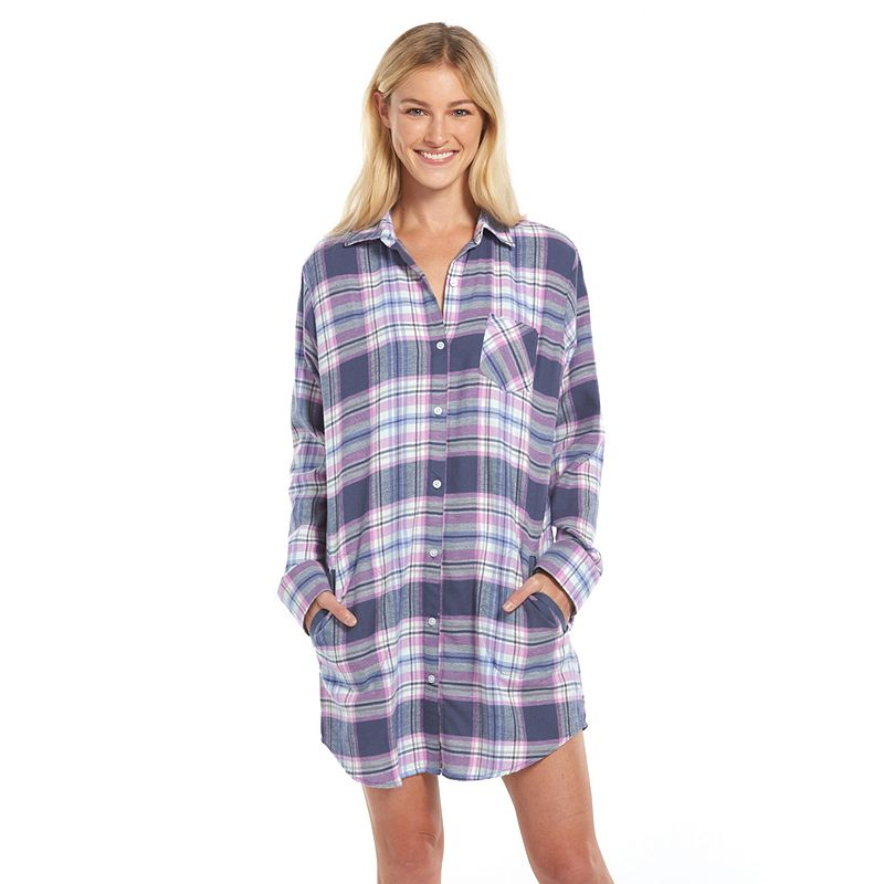 Chest pocket pajama kohl 39 s for Women s flannel sleep shirt