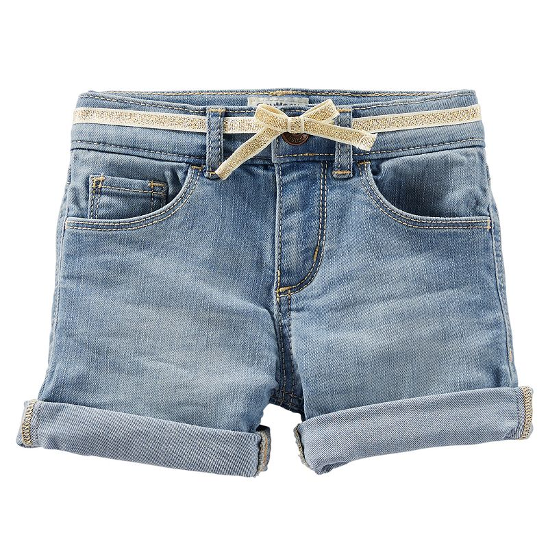 Girls 4-6x OshKosh B'gosh® Roll-Cuff Denim Shorts with Glitter Belt