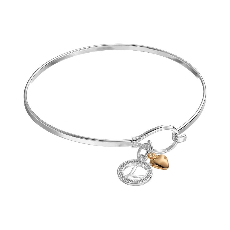 Cubic Zirconia Initial & Heart Charm Bangle Bracelet