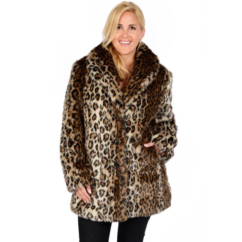 Plus Size Excelled Leopard Faux-Fur Coat, Women's, Size: 1XL, Brown Oth