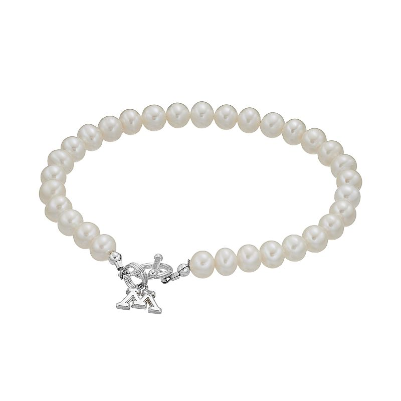 Dayna U Minnesota Golden Gophers Sterling Silver Freshwater Cultured Pearl Toggle Bracelet