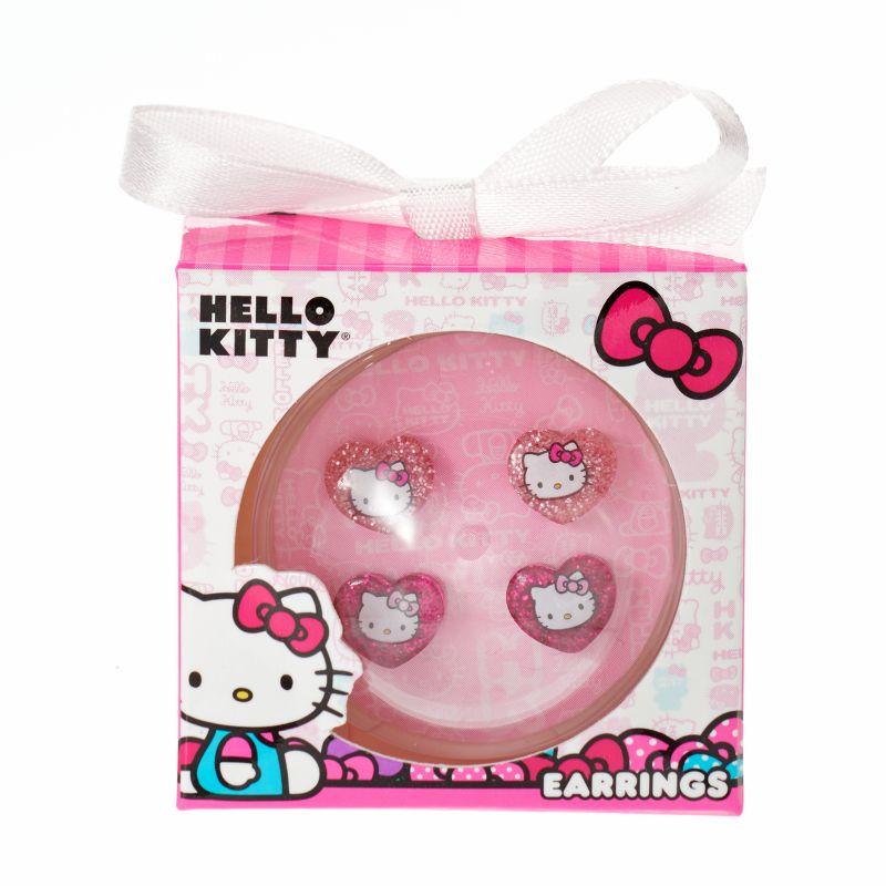 Hello Kitty Glitter Stud Earring Set - Girls, Girl's, multicolor