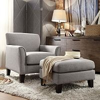 HomeVance Remmington 2-Piece Linen Arm Chair and Ottoman Set (Gray)