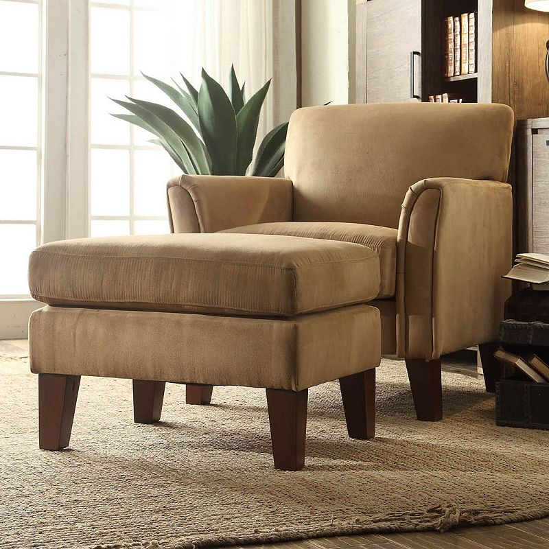HomeVance Remmington 2-piece Faux-Suede Arm Chair and Ottoman Set