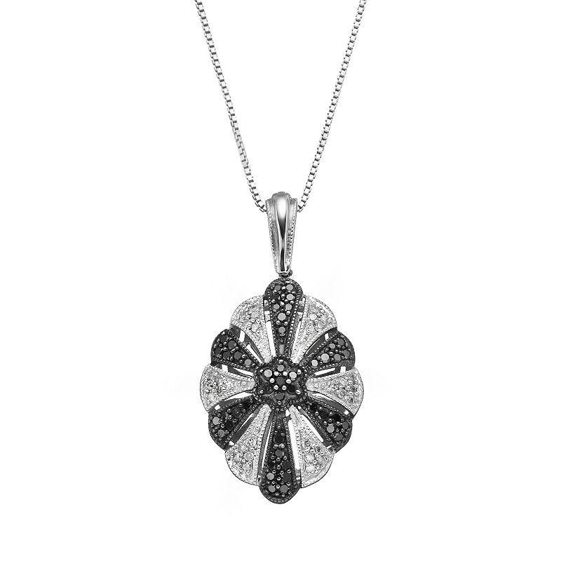 Sterling Silver 3/8 Carat T.W. Black & White Diamond Flower Pendant