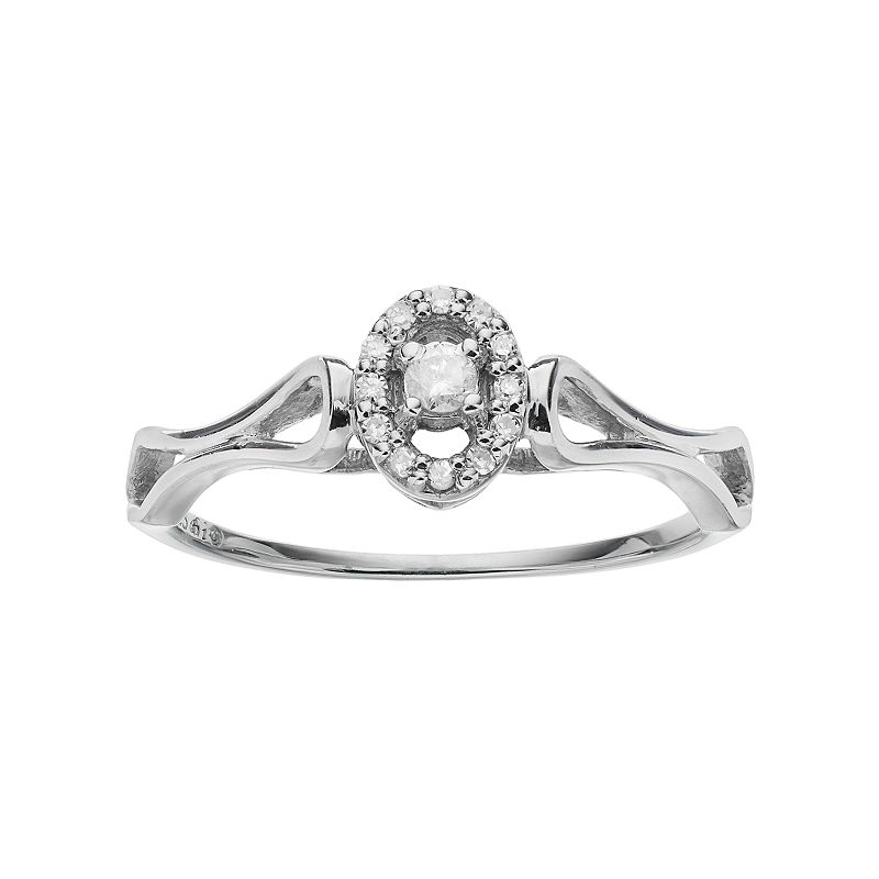 Sterling Silver 1/10 Carat T.W. Diamond Oval Halo Promise Ring