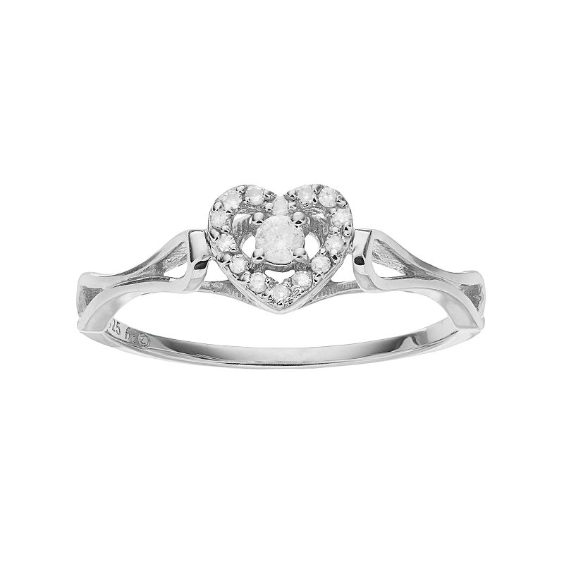 Sterling Silver 1/6 Carat T.W. Diamond Heart Halo Promise Ring