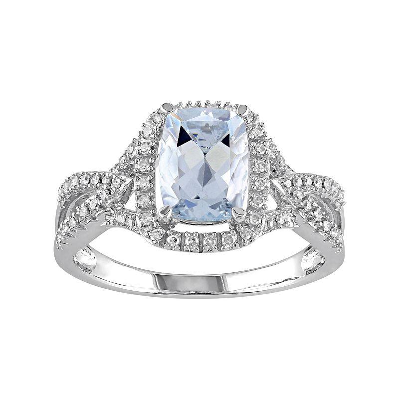 10k White Gold Aquamarine & 1/6 Carat T.W. Diamond Ring
