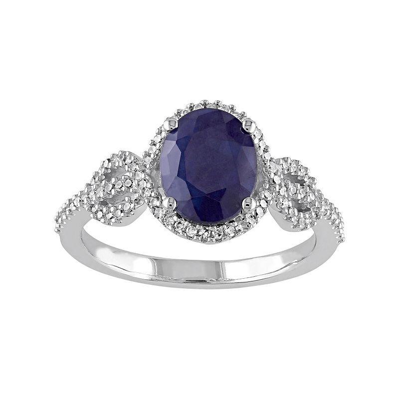 10k White Gold Sapphire & 1/4 Carat T.W. Diamond Ring