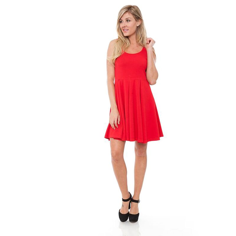 White Mark Solid Fit & Flare Dress - Women's