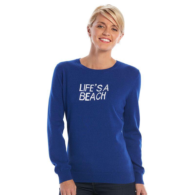 Women's Caribbean Joe Intarsia Graphic Crewneck Sweater