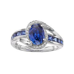 Sterling Silver Lab-Created Ceylon Sapphire & Diamond Accent Halo Ring by