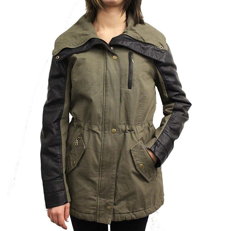 Women's Coffee Shop Faux-Leather Trim Anorak Jacket