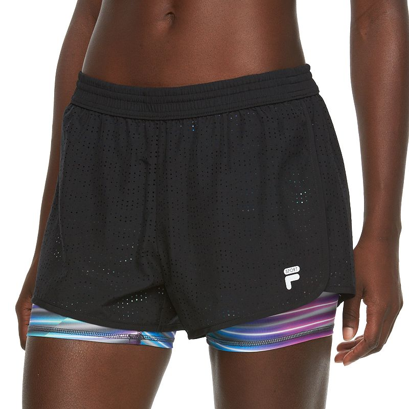 Women's FILA SPORT® Perforated Double-Layer Running Shorts
