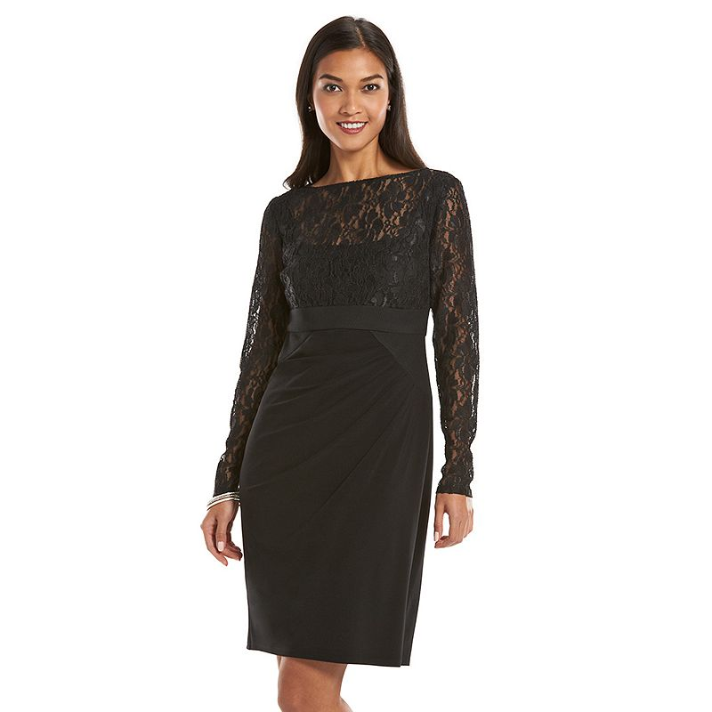 Petite Chaps Lace Mixed-Media Sheath Dress