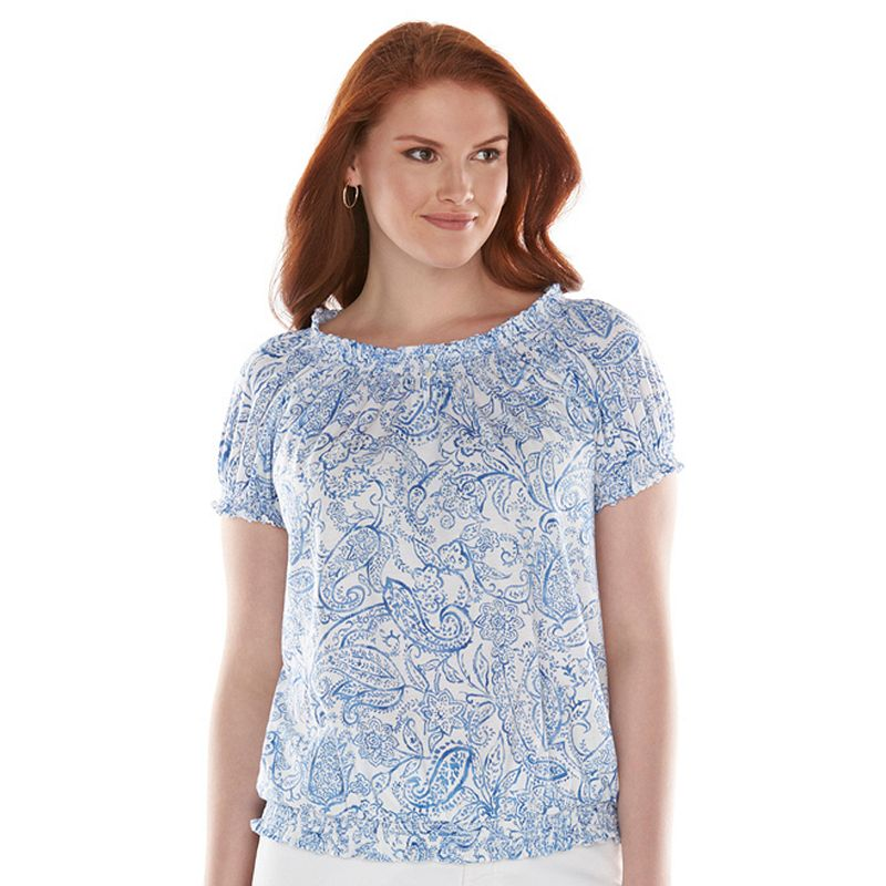 Chaps Smocked Peasant Top - Women's Plus Size  (White)