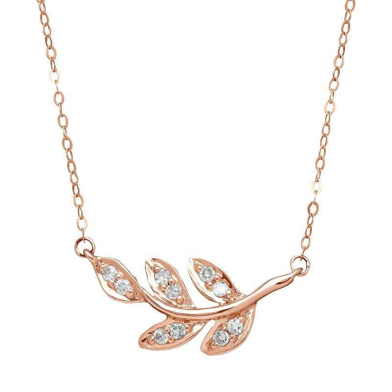 1/10 Carat T.W. Diamond 10k Rose Gold Leaf Necklace