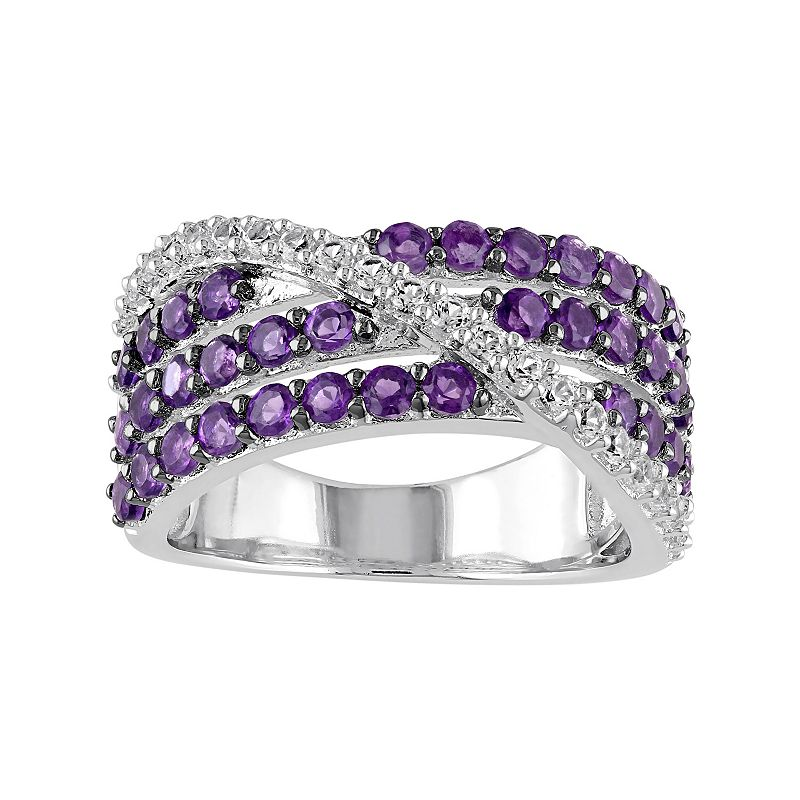 African Amethyst & Lab-Created White Sapphire Sterling Silver Multirow Ring