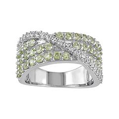 Peridot & Lab-Created White Sapphire Sterling Silver Multirow Ring by