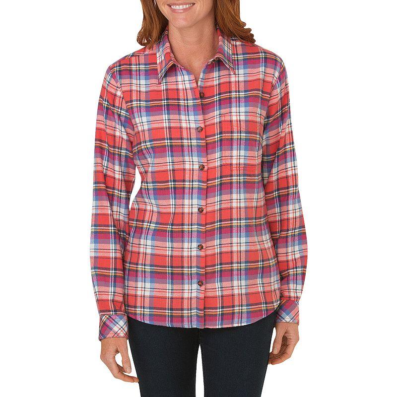 Plus size dickies plaid flannel shirt women 39 s size 2x for Plus size plaid flannel shirt