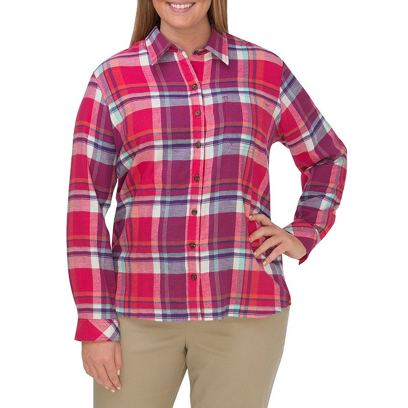 Plus size dickies plaid flannel shirt women 39 s size 1x for Plus size plaid flannel shirt