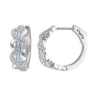 Lab-Created White Sapphire & Swiss Blue Topaz Sterling Silver Infinity Hoop Earrings