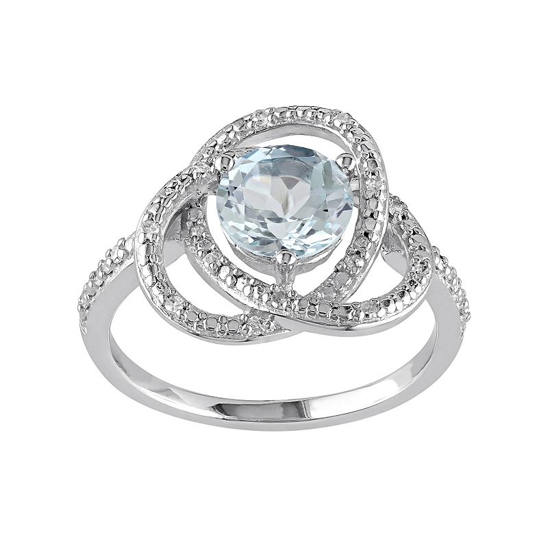 Sky Blue Topaz & 1/10 Carat T.W. Diamond Sterling Silver Ring