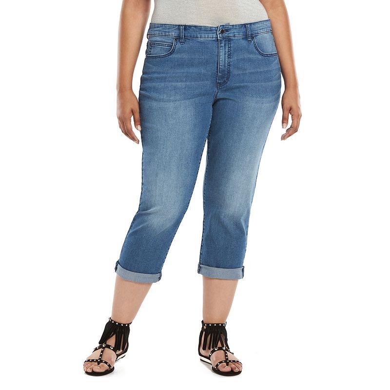 Plus Size Jennifer Lopez Cuffed Jean Capris