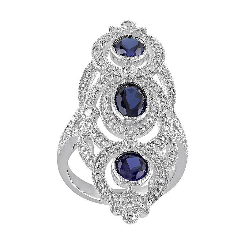 Lab-Created Sapphire & 1/10 Carat T.W. Diamond Sterling Silver 3-Stone Ring