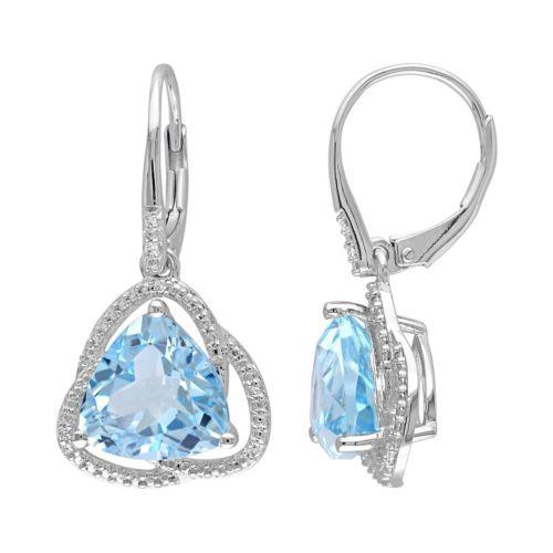 Sky Blue Topaz & Diamond Accent Sterling Silver Drop Earrings