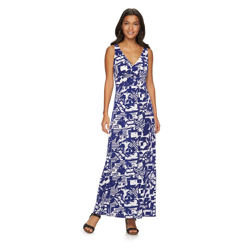 Petite Chaps Printed Empire Maxi Dress